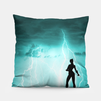 Thumbnail image of Cat on Stormy Night  Pillow, Live Heroes