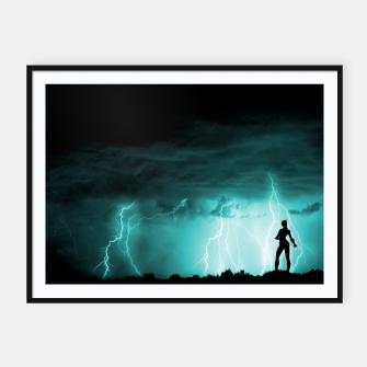 Thumbnail image of Cat on Stormy Night  Framed poster, Live Heroes