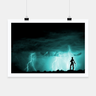 Miniatur Cat on Stormy Night  Poster, Live Heroes