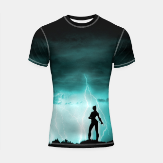 Cat on Stormy Night  Shortsleeve rashguard imagen en miniatura