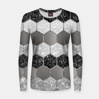 Thumbnail image of Silver Hexagon Glitter Glam #1 #geometric #decor #art Frauen sweatshirt, Live Heroes