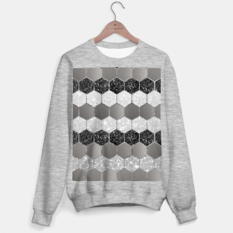 Miniatur Silver Hexagon Glitter Glam #1 #geometric #decor #art Sweatshirt regulär, Live Heroes