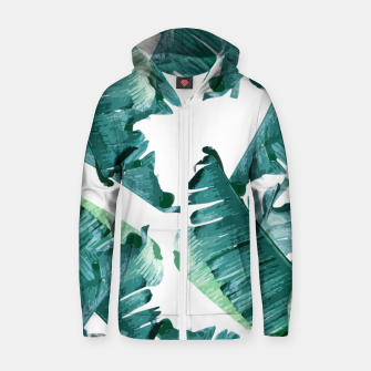 Thumbnail image of Tropical Banana Leaves Zip up hoodie, Live Heroes