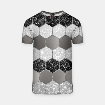 Miniatur Silver Hexagon Glitter Glam #1 #geometric #decor #art T-Shirt, Live Heroes