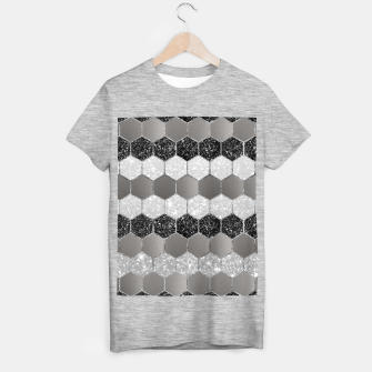 Thumbnail image of Silver Hexagon Glitter Glam #1 #geometric #decor #art T-Shirt regulär, Live Heroes