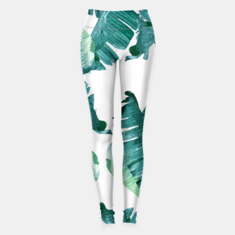 Thumbnail image of Tropical Banana Leaves Leggings, Live Heroes