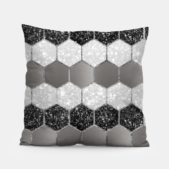 Thumbnail image of Silver Hexagon Glitter Glam #1 #geometric #decor #art Kissen, Live Heroes