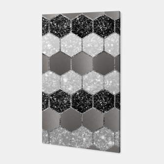 Miniatur Silver Hexagon Glitter Glam #1 #geometric #decor #art Canvas, Live Heroes