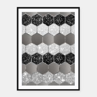 Thumbnail image of Silver Hexagon Glitter Glam #1 #geometric #decor #art Plakat mit rahmen, Live Heroes