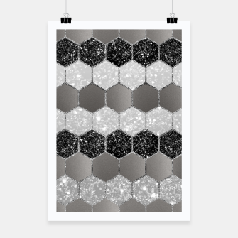 Miniatur Silver Hexagon Glitter Glam #1 #geometric #decor #art Plakat, Live Heroes