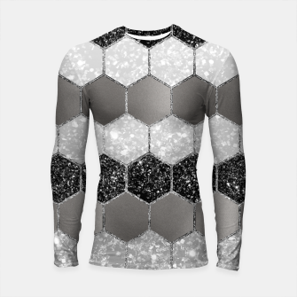 Thumbnail image of Silver Hexagon Glitter Glam #1 #geometric #decor #art Longsleeve rashguard, Live Heroes