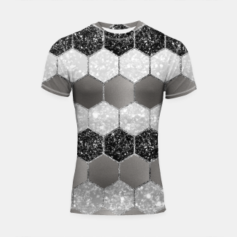 Thumbnail image of Silver Hexagon Glitter Glam #1 #geometric #decor #art Shortsleeve rashguard, Live Heroes