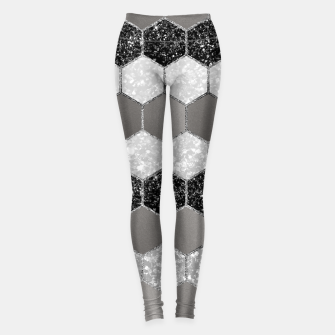 Thumbnail image of Silver Hexagon Glitter Glam #1 #geometric #decor #art Leggings, Live Heroes