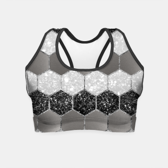 Miniatur Silver Hexagon Glitter Glam #1 #geometric #decor #art Crop Top, Live Heroes
