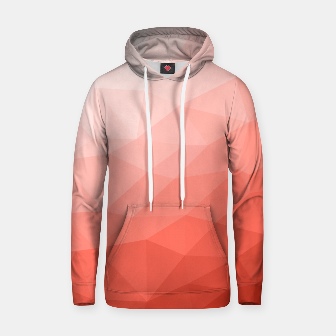 Image of Living coral geometric mesh ombre Hoodie - Live Heroes