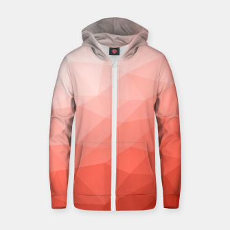 Thumbnail image of Living coral geometric mesh ombre Zip up hoodie, Live Heroes