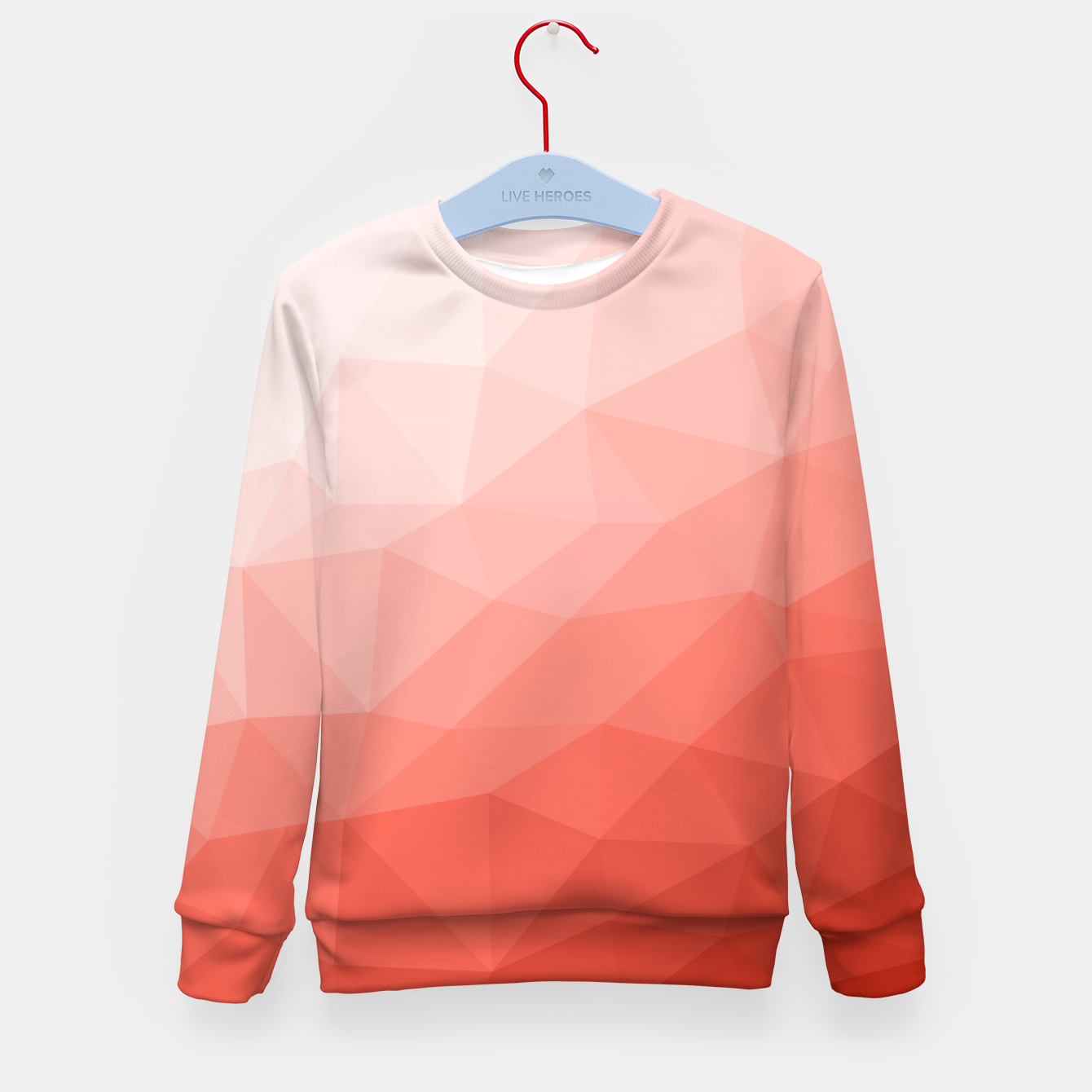 Image of Living coral geometric mesh ombre Kid's sweater - Live Heroes