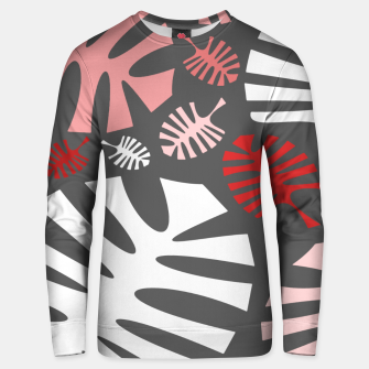 Miniatur Pink tropical leaves on gray Unisex sweater, Live Heroes