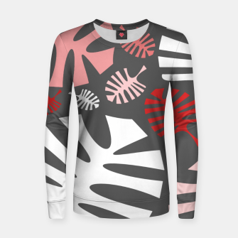 Miniatur Pink tropical leaves on gray Women sweater, Live Heroes