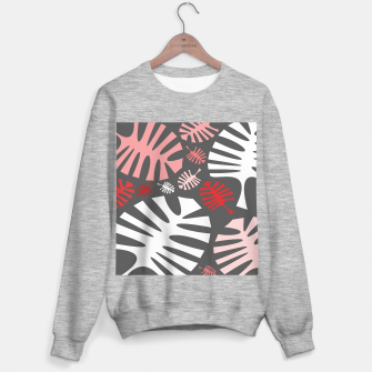 Miniatur Pink tropical leaves on gray Sweater regular, Live Heroes