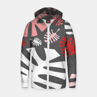 Miniatur Pink tropical leaves on gray Zip up hoodie, Live Heroes
