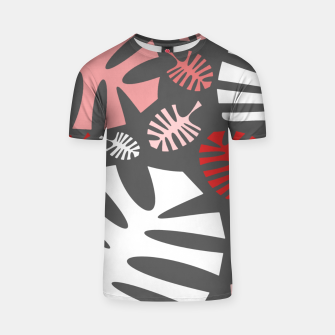 Miniatur Pink tropical leaves on gray T-shirt, Live Heroes