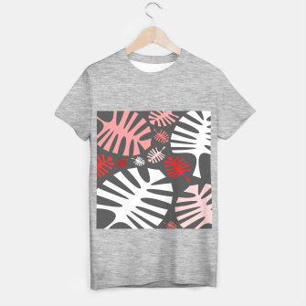 Miniatur Pink tropical leaves on gray T-shirt regular, Live Heroes