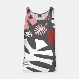 Miniatur Pink tropical leaves on gray Tank Top, Live Heroes