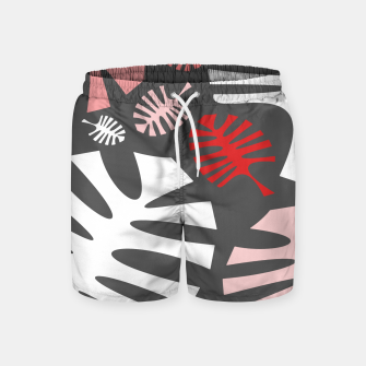 Miniatur Pink tropical leaves on gray Swim Shorts, Live Heroes