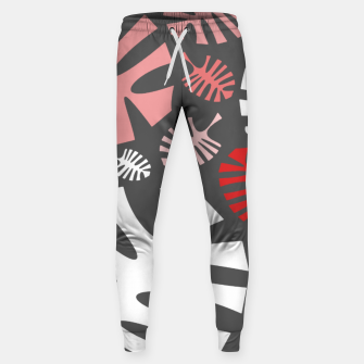 Miniatur Pink tropical leaves on gray Sweatpants, Live Heroes
