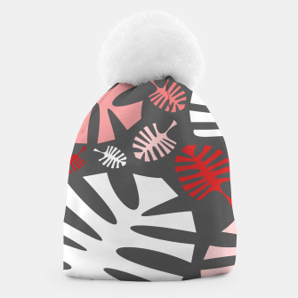 Miniatur Pink tropical leaves on gray Beanie, Live Heroes