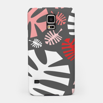 Miniatur Pink tropical leaves on gray Samsung Case, Live Heroes