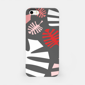 Miniatur Pink tropical leaves on gray iPhone Case, Live Heroes