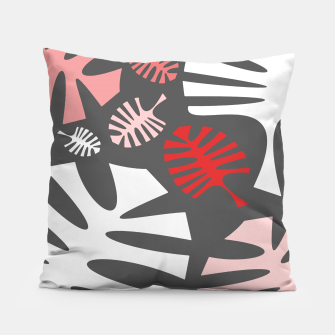 Miniatur Pink tropical leaves on gray Pillow, Live Heroes