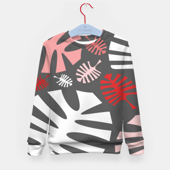 Miniatur Pink tropical leaves on gray Kid's sweater, Live Heroes