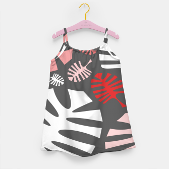 Miniatur Pink tropical leaves on gray Girl's dress, Live Heroes