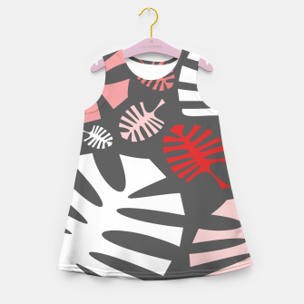 Miniatur Pink tropical leaves on gray Girl's summer dress, Live Heroes