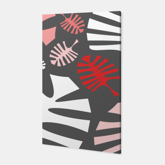 Miniatur Pink tropical leaves on gray Canvas, Live Heroes