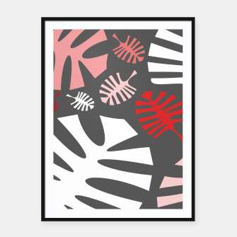Miniatur Pink tropical leaves on gray Framed poster, Live Heroes
