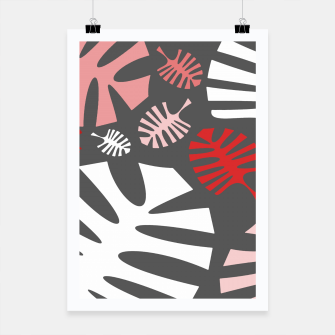 Miniatur Pink tropical leaves on gray Poster, Live Heroes