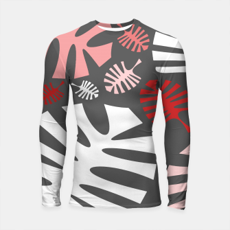 Miniatur Pink tropical leaves on gray Longsleeve rashguard , Live Heroes