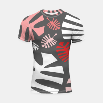 Miniatur Pink tropical leaves on gray Shortsleeve rashguard, Live Heroes