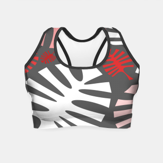 Miniatur Pink tropical leaves on gray Crop Top, Live Heroes