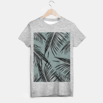 Miniatur Black Palm Leaves Dream #4 #tropical #decor #art  T-Shirt regulär, Live Heroes