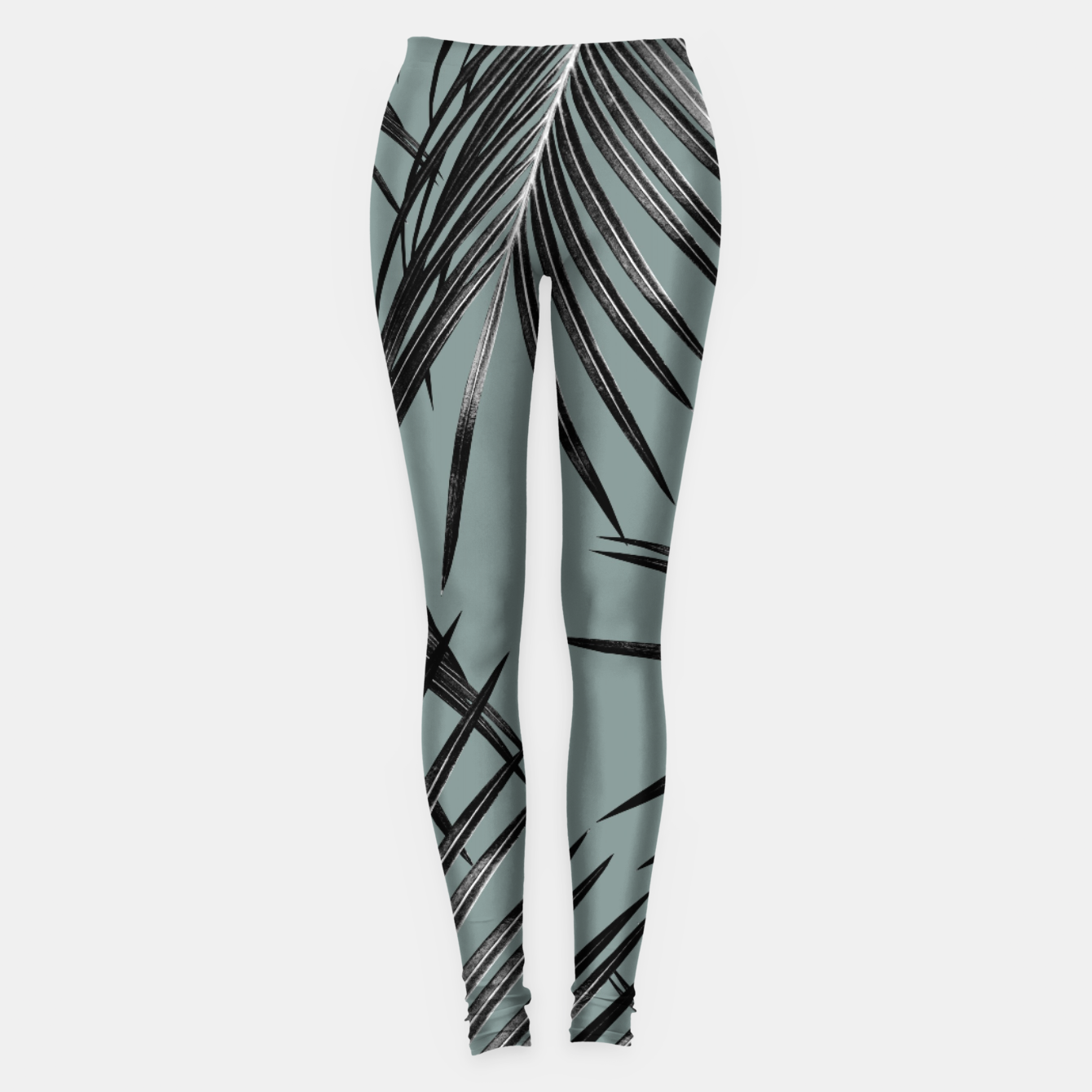 Image of Black Palm Leaves Dream #4 #tropical #decor #art  Leggings - Live Heroes