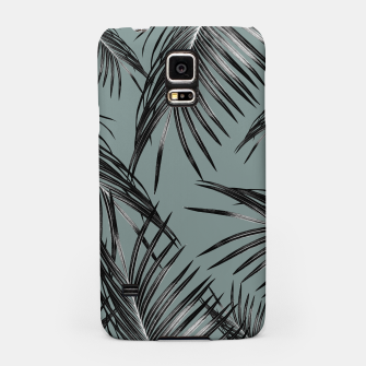 Miniatur Black Palm Leaves Dream #4 #tropical #decor #art  Handyhülle für Samsung, Live Heroes