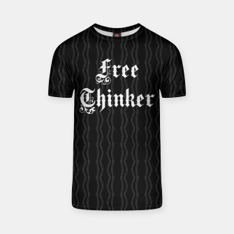 Thumbnail image of Free Thinker - gothic typography over chains pattern T-shirt, Live Heroes