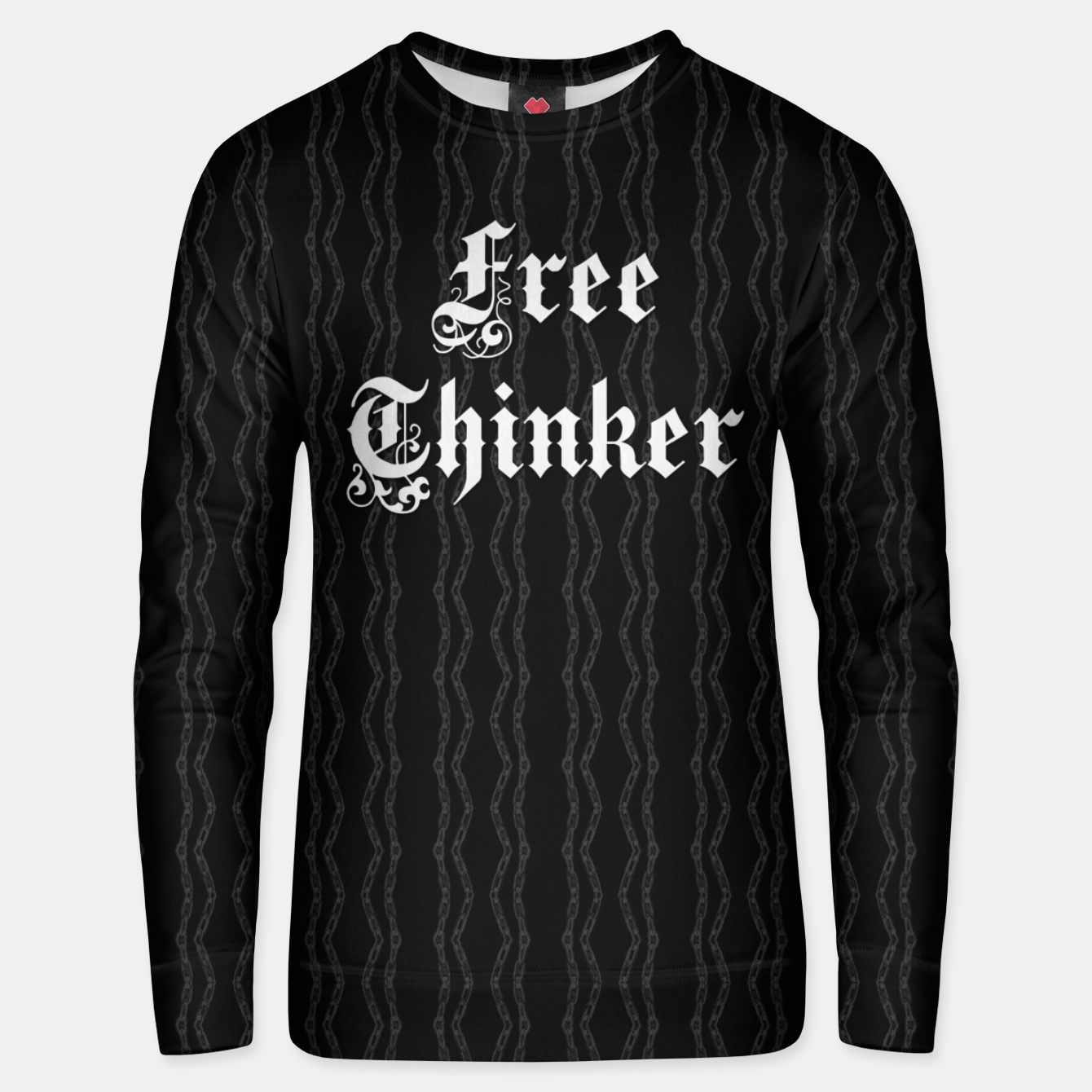 Image of Free Thinker - gothic typography over chains pattern Unisex sweater - Live Heroes