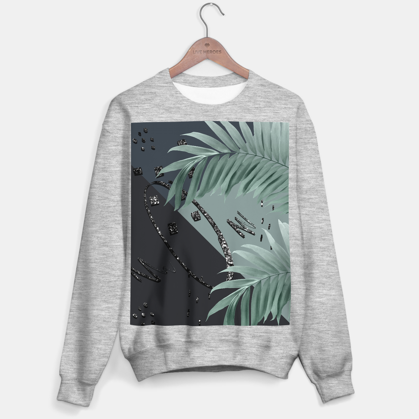Image of Night Palms Cali Vibes Abstract Glitter Glam #1 #tropical #decor #art  Sweatshirt regulär - Live Heroes