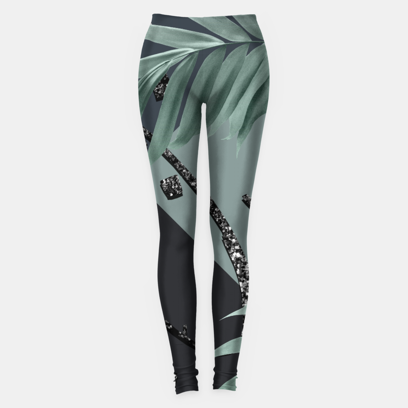 Image of Night Palms Cali Vibes Abstract Glitter Glam #1 #tropical #decor #art  Leggings - Live Heroes
